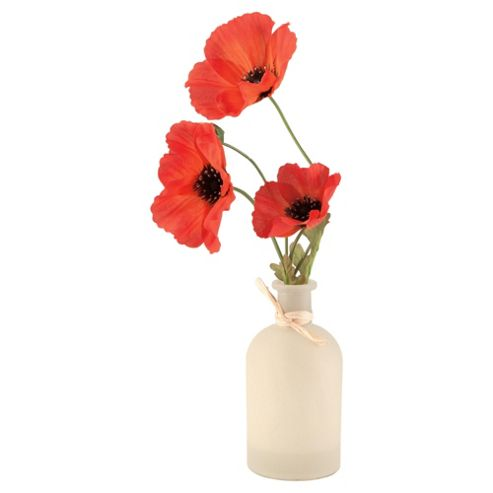 Tesco Poppies In Cream Vase