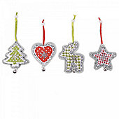 Four Hanging Metal Tree Decorations with Snowflake & Checked Fabric Detail