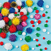 Glitter Pom Poms (100 Pcs) Craft Children