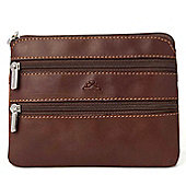 Tony Perotti Italian leather 3 zip coin holder, for men and for women. Brown
