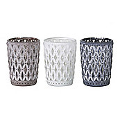 Parlane Set of Three Lattice Candle Holders - Brown, White and Grey - 9cm