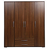 Newport 4 Door 2 Drawer Wardrobe Walnut