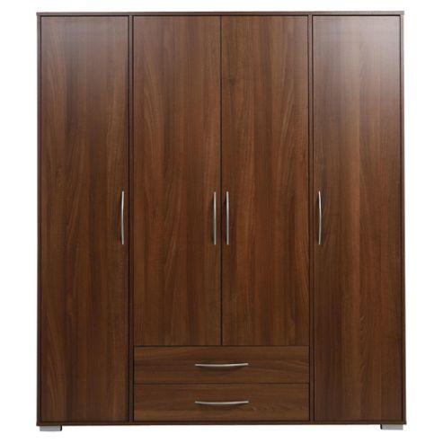 Newport 4 Door 2 Drawer Wardrobe Walnut