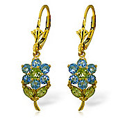 QP Jewellers Peridot & Blue Topaz Flower Earrings in 14K Gold