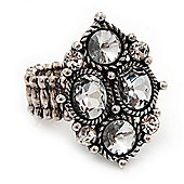 Vintage Diamond Shaped Crystal Flex Ring In Burn Silver Metal