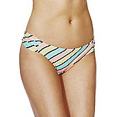 F&F Candy Stripe Ruched Side Bikini Briefs - Multi