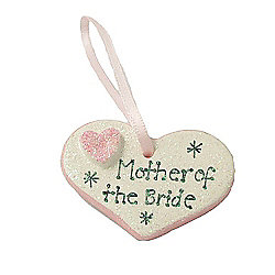 Mother of the Bride Pink Sparkle Heart Wedding Keepsake