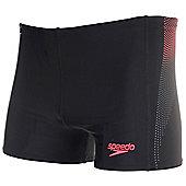Speedo Panel Mens Swimming Aquashort Trunk Short Black/Red - Black