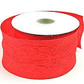 Ribbon Crinkle Taffeta - Wired Edge- 5cm x 10y - Red