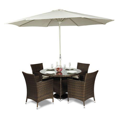 Buy Savannah Round 4 Seat Rattan Dining Set From Our Rattan Garden Furniture