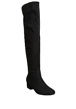 F&F Faux Suede Over The Knee Boots - Black