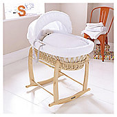 Clair de Lune Natural Wicker Moses Basket (Honeycomb White)