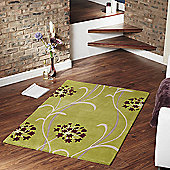 Ultimate Rug Co Floral Art Gardenia Green Rug - 160 cm x 230 cm (5 ft 3 in x 7 ft 6.5 in)