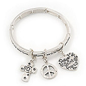 Silver Plated Charm 'Prayer of Saint Francis' Flex Bangle Bracelet - 18cm Length