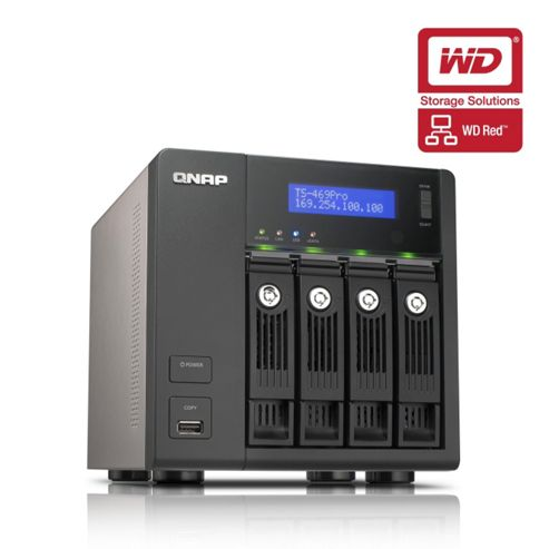QNAP TS-469 Pro Tower Server 4TB (4x1TB) 4-Bay Turbo NAS for Small and Medium Business Users - (WD RED Drive Model)