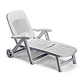 SCAB Splendido Folding Reclining Sun Lounger with Wheel - White