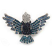Blue Swarovski Crystal 'Flying Bird' Brooch In Rhodium Plated Metal - 5cm Length