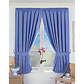 Dreams n Drapes Norfolk Pencil Pleat Blackout Lined Curtains 90x54 inches - Blue