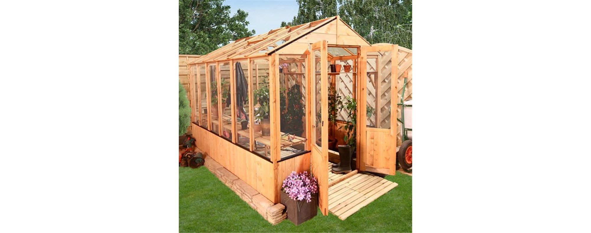 BillyOh 4000 9 x 6 Lincoln Clear Wall Wooden Greenhouse