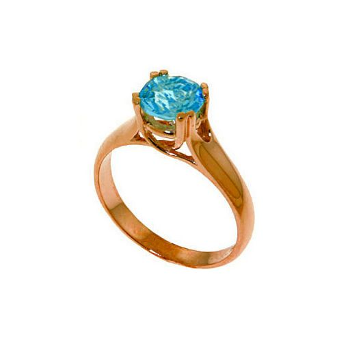 QP Jewellers 1.10ct Blue Topaz Solitaire Ring in 14K Rose Gold - Size J 1/2