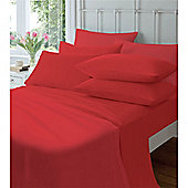 Catherine Lansfield Home Cosy Corner 145gsm Plain Dyed Flette Pillowcases Red