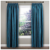 "Ripple Pencil Pleat Curtains W168xL137cm (66x54""), Teal"