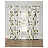 Leaf Printed Lined Eyelet Curtains - Green - 66 X 54