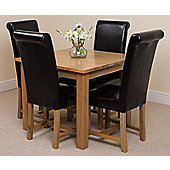 Oslo Solid Oak Square 90 cm Dining Table with 4 Washington Leather Dining chairs (Black)
