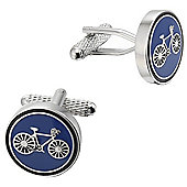 Round Blue Enamel Cycle cufflinks for cyclists and push bike lovers - ck974