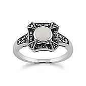 Gemondo 925 Sterling Silver 0.31ct Opal & Marcasite Art Deco Ring