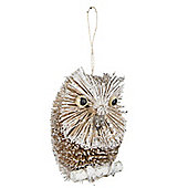 Glitter Woodland Owl Christmas Tree Decoration