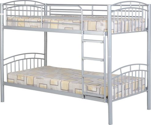 Home Essence New Vernon Single Bunk Bed Frame in Silver