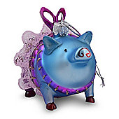 Metallic Blue Finish Glass Pig in Tutu Christmas Tree Bauble