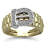 Jewelco London 9 Carat Yellow Gold 15pts Buckle Ring