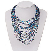 Lavender/Turquoise/Blue Chip&Glass Beaded Multistrand Necklace - 54cm Length