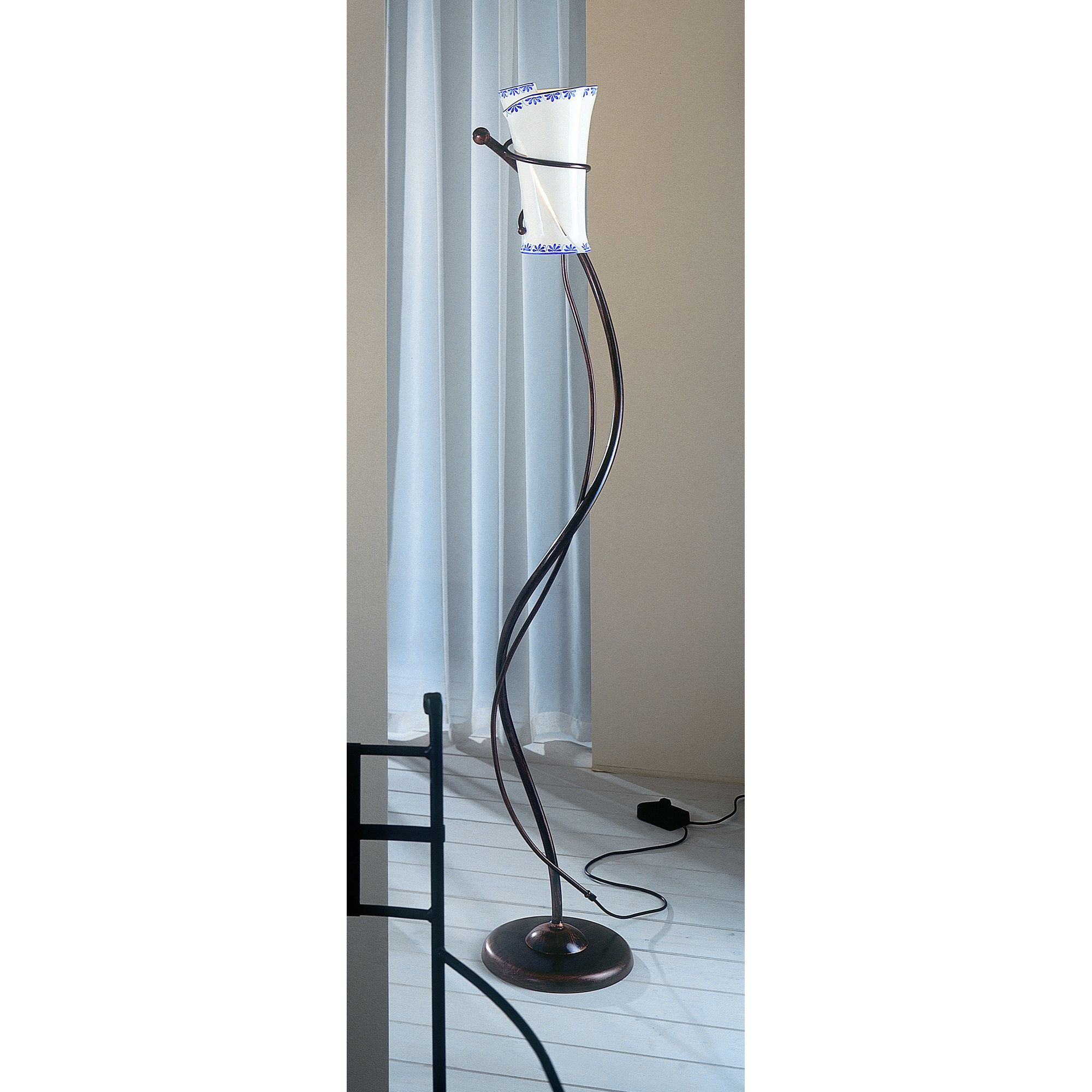 Ferroluce Rimini 1 Light Floor Lamp In Blue / Black Copper