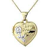 "9ct Gold Locket Message Pendant with Chain Message - ""Love, Dream, Hope"""