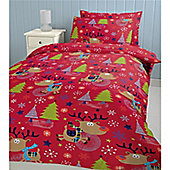 Catherine Lansfield Cosy Corner Christmas Fabric Bag Christmas with Rudolph Multi Coloured Single Quiltset