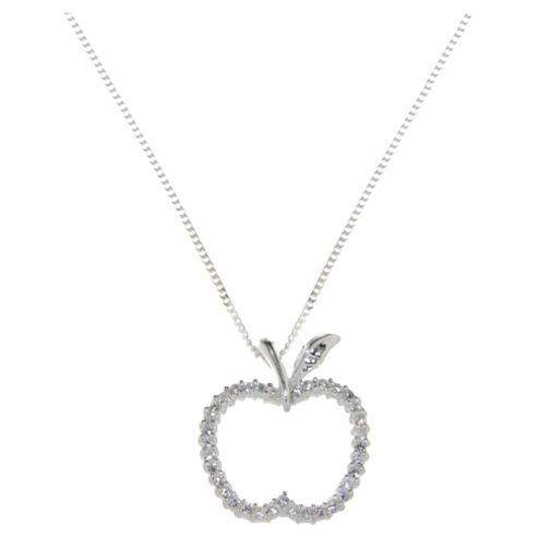 Sterling Silver & Cz Apple Pendante
