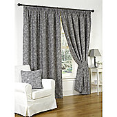 Genesis Charcoal Pencil Pleat Lined Curtains - 46x72