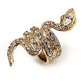 Gold Tone Swarovski Crystal Snake Ring