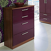 Welcome Furniture Knightsbridge 4 Drawer Deep Chest - Walnut - Aubergine