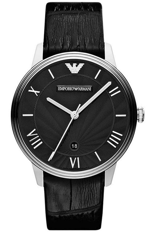 Emporio Armani Gents Dino Black Leather Strap Watch AR1611