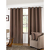 KLiving Manhattan Plain Panama Unlined Eyelet Curtain 65 x 90 Mocha