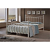 Ivory Shell Detailed Metal Bed Frame - Single 3ft