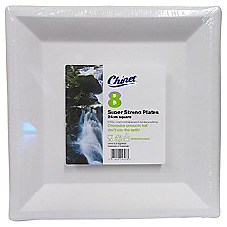 Chinet Square Paper Plates, White, 8 Pack