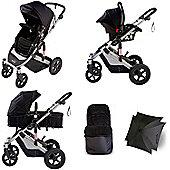 Your Baby Dakota 5 Piece Pramette Travel System - Black - Inc Footmuff & Parasol