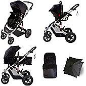 Your Baby Dakota 5 Piece Pramette Travel System - Black - Inc Footmuff & Parasol