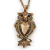 Long Champagne CZ 'Owl' Pendant Necklace In Gold Plating - 72cm Length/ 7cm Extension
