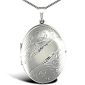 Jewelco London Sterling Silver Oval shape floral pattern Locket Pendant - 18 inch Chain